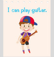 word card with boy playing guitar vector image