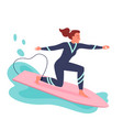 young woman surfing on surf board surfer in vector image