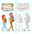 Happy doodle Consumers with a full shopping bags vector image
