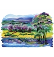 Watercolor summer rural landscape vector image
