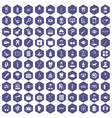 100 care icons hexagon purple vector image vector image