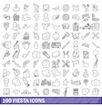 100 fiesta icons set outline style vector image vector image