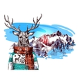 animals in mountains vector image