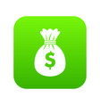 bag with dollars icon digital green vector image vector image
