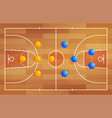 basketball court with a tactical scheme vector image vector image