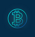 bitcoin coin blue icon in outline style vector image vector image