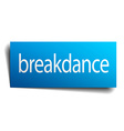 Breakdance blue square isolated paper sign on