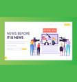 breaking news program concept landing page vector image vector image