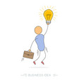 business idea - man with bulb lamp vector image