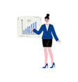businesswoman wearing formal clothes pointing at vector image vector image