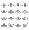 collection of linear holly berry icons vector image vector image