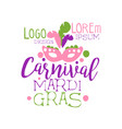 colorful flat hand drawn mardi gras holiday logo vector image