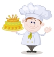 Cook with holiday cake vector image vector image