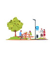 couple sitting at a picnic table in park semi vector image vector image