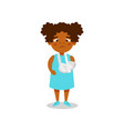 cute african american girl with broken arm in vector image