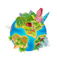 cute earth planet with city skyscrapers farm vector image vector image