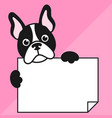 cute french bulldog with sheet of paper vector image