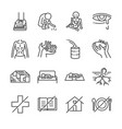 destitution line icon set vector image vector image