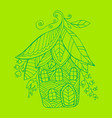 fairy house in form flowers and leaf vector image vector image