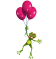 Frog in balloons vector image vector image