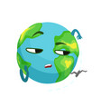 funny boring earth planet character and airplane vector image vector image