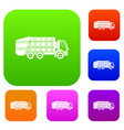 garbage truck set collection vector image vector image