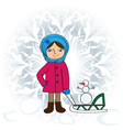 girl with sledge vector image vector image