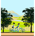 girls riding tandem bicycle vector image vector image