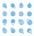 globe flat line icon set vector image
