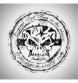 grunge Halloween skull vector image