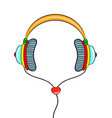 hand drawn comic headphones on white background vector image