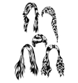 Hand drawn set of different women s hair styles