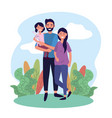 happy man and woman couple with their daughter vector image