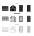 isolated object of door and front sign set of vector image vector image