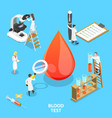 isometric flat concept blood test vector image