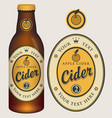 label for apple cider with crown and inscription vector image vector image