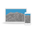 Laptop and smartphone mockups and mountains inside vector image
