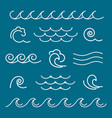 marine waves line graphics vector image vector image