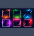 neon light square modern frames set six vector image