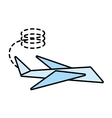 paper plane symbolic miniature line dotted vector image vector image