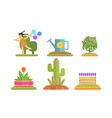 park and garden floral elements set flowerbeds vector image vector image