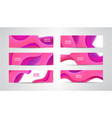 set abstract wavy pink banners 3d flow vector image