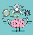 set kawaii brain with knowledge education vector image