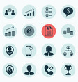 set of 16 human resources icons includes job vector image vector image