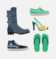 set womens shoes flat design collection vector image vector image