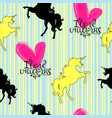 silhouettes of unicorns yellow and black with vector image