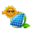 Solar panel with smiling sun vector image