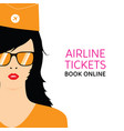 stewardess in orange uniforms with booking online vector image vector image