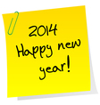 Sticker note with 2014 Happy New Year message vector image vector image