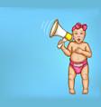 surprised baby girl with loudspeaker vector image vector image